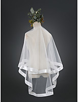 Wedding Veil One-tier Elbow Veils Cut Edge Ribbon Edge Tulle