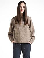 Для женщин На каждый день Простое Короткий Пуловер Однотонный Контрастных цветов,Круглый вырез Длинный рукав Шерсть Хлопок Полиэстер