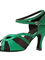 Women's Latin Sparkling Glitter Sandals Performance Sparkling Glitter Stiletto Heel Green 3