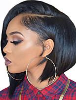 Yaki Straight Short Bob Wig For Women L Part Italian Yaki Heat Resistant Glueless Synthetic Lace Front Wigs