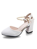 Women's Sandals Comfort Spring Summer PU Dress Party & Evening Imitation Pearl Buckle Chunky Heel White Blushing Pink 2in-2 3/4in