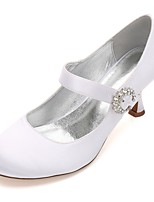 Women's Wedding Shoes Comfort Mary Jane Basic Pump Spring Summer Satin Wedding Dress Party & Evening Rhinestone Sparkling Glitter Ribbon