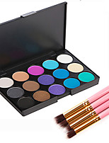 15 Colors Matte Eyeshadow Pro Colored Smoky Makeup Shimmer Cosmetic 4Pcs Eye Brush Set Softer Eyes Shadow Beauty Kit Collection