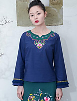 YOUJIN Women's Casual/Daily Chinoiserie T-shirtSolid Embroidery Round Neck Long Sleeve Cotton Linen