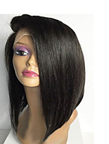 Side Part Short Length Silk Straight Bob Wigs Glueless Lace Front Indian Human Hair Wigs For Black Women