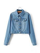 Feminino Jaqueta jeans Para Noite Casual Simples Moda de Rua Primavera Outono,Sólido Estampado Curto Outros Colarinho de CamisaManga