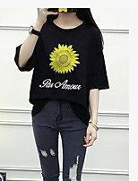 Women's Casual/Daily Simple Summer T-shirt,Print Letter Round Neck Short Sleeve Cotton Others