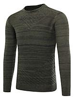 Для мужчин Спорт На выход На каждый день Простое Обычный Пуловер Однотонный,Круглый вырез Длинный рукав Шерсть Осень Зима Средняя