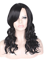 Middle Long Black Color Loose Wavy  Synthetic Wigs for Black Women Hair