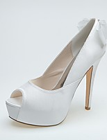 Feminino Sapatos De Casamento Sapatos formais Primavera Verão Cetim Casamento Festas & Noite Salto Agulha Branco 10 a 12 cm