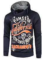 Men's Casual/Daily Simple Hoodie Letter Hooded Inelastic Cotton Polyester Long Sleeve Spring Fall