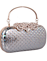 Women Clutch leatherette All Seasons Wedding Event/Party Formal Minaudiere Rhinestone MiniSpot Snap Silver Black Gold