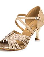 Mujer Latino Seda Semicuero Sandalias Zapatillas Profesional Perlado Artificial Piedras Hebilla Tacón Stiletto Dorado Azul Personalizables