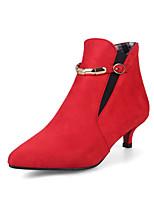 Для женщин Ботинки Удобная обувь Дерматин Осень Зима Повседневные Для праздника Для прогулок Пряжки На каблуке-рюмочкеЧерный Серый