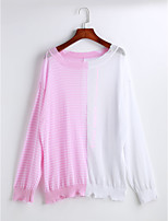 Для женщин На каждый день Блуза Круглый вырез,Простое Однотонный Полоски Длинный рукав,Полиэстер