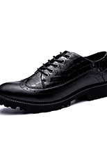 Men's Shoes Real Leather Leather PU Fall Winter Comfort Light Soles Formal Shoes Oxfords For Casual Party & Evening Office & Career Black