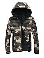 Men's Regular Padded Coat,Street chic Sports Going out Casual/Daily Work Camouflage-Polyester Polyester Long Sleeves