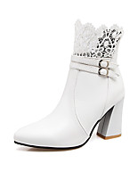 Women's Boots Comfort Fall Winter Leatherette Walking Shoes Casual Dress Buckle Chunky Heel White Black Ruby 3in-3 3/4in