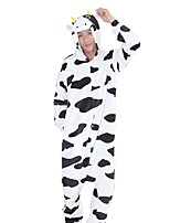 Kigurumi Pajamas Milk Cow Festival/Holiday Animal Sleepwear Halloween Fashion Embroidered Flannel Fabric Cosplay Costumes Kigurumi For