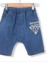 Para Meninos Jeans Cor Única Verão Algodão