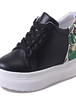 Women's Sneakers Comfort Spring Fall PU Casual Lace-up Flat Heel White Black Flat
