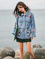 Women's Casual/Daily Street chic Spring Fall Denim Jacket,Solid Shirt Collar Long Sleeve Regular Cotton