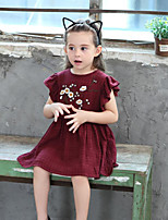 Girl's Cotton Fashion And Lovely  The Embroidery Trim Lotus Leaves Holiday Leisure And Pure Cotton - Sleeved Princess Dress