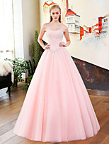 Princess Strapless Court Train Satin Tulle Sequined Rehearsal Dinner Formal Evening Dress with Beading Sequins Bandage by QZ