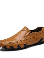 Для мужчин Мокасины и Свитер Удобная обувь Весна Осень Наппа Leather Повседневные Для вечеринки / ужина В клетку На плоской подошве