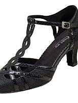 Women's Modern Net Leatherette Sandals Heels Professional Buckle Customized Heel Black Silver 1