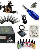 kit tatuaggio avviamento 1 x tatuaggio macchina in lega per il rivestimento e l'ombreggiatura LCD alimentazione 5 x ago RL 3 Kit completo