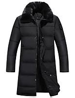 Пальто Простое Длинная Пуховик Для мужчин,Однотонный Большие размеры Акрил Пух белой утки,Длинный рукав