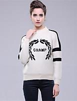 Для женщин На каждый день Простое Обычный Пуловер Однотонный С принтом Контрастных цветов,Круглый вырез Длинный рукав Шерсть Полиэстер