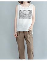 Mujer Simple Casual/Diario Tank Tops,Escote Redondo Un Color Estampado Letra Sin Mangas Algodón