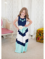 Girl's Striped Dress Cotton Summer Sleeveless Kids Girls Vest Dress Ankle Length Toddler Dress