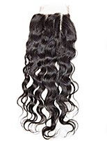 El pelo remy del bebé del cierre del pelo humano del remiendo del frente del cordón de la onda de agua 4x4inch 8-20inch