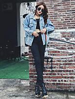 Feminino Jaqueta jeans Casual Simples Outono,Sólido Estampado Padrão Poliéster Com Capuz Manga Longa