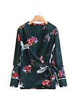 Для женщин На выход На каждый день Лето Осень Блуза Глубокий V-образный вырез,Простое Уличный стиль Цветочный принт Длинный рукав,Другое,