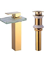 Centerset Waterfall with  Ceramic Valve One Hole for  Gold , Bathroom Sink Faucet