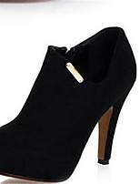 Для женщин Ботинки Удобная обувь Осень Нубук Полиуретан Повседневные Черный 9,5 - 12 см