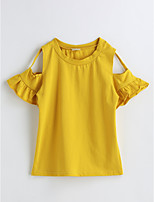 Girls' Solid Blouse,Cotton Summer Short Sleeve