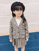 Girls' Plaid Sets,Rayon Spring Fall Long Sleeve Clothing Set