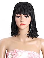 Парики из искусственных волос Без шапочки-основы Средний коричневый Черный 100% волосы канекалона Парик из натуральных волос Карнавальные