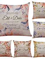 Set of 6 Letters and Flowers Linen Cushion Cover Home Office Sofa Square Pillow Case Decorative Cushion Covers Pillowcases (18*18Inch)