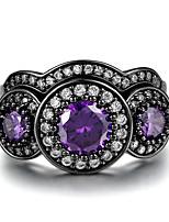 Damen Bandringe Kubikzirkonia Obsidian Vintage Magnettherapie Luxus-Schmuck Zirkon Kreisform Schmuck FürHochzeit Verlobung Zeremonie