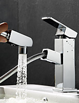 Art Deco/Retro Glam Casual Chic & Modern Centerset Ceramic Valve Single Handle One Hole for  Chrome , Bathroom Sink Faucet