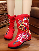 Women's Shoes Fabric Winter Comfort Boots With For Casual Black Red