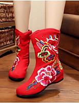 Feminino Sapatos Tecido Inverno Conforto Botas Para Casual Preto Vermelho