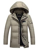Пальто Простое Пуховик Для мужчин,Однотонный На каждый день Акрил Пух белой утки,Длинный рукав