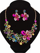 Femme Boucles d'oreille goutte Collier Mode Personnalisé Bijoux de Luxe Zircon Alliage Forme de Fleur PourMariage Soirée Anniversaire